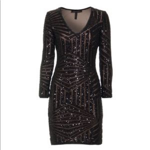 BCBG Morris Black Sequin Dress